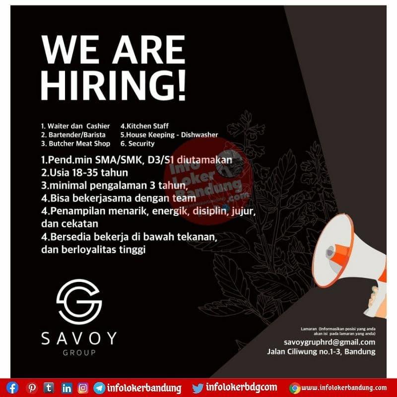 Lowongan Kerja Savoy Group Bandung Agustus 2021