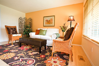 green and orange living room decor salas con paredes color naranja salas con estilo 24307