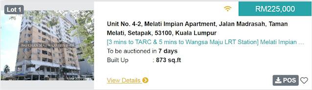 Rumah Apartment di Kuala Lumpur di Lelong bermula pada harga RM225 ribu