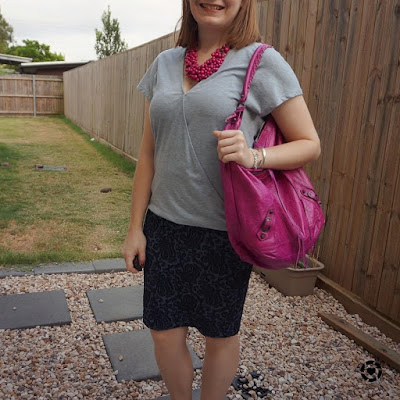 awayfromblue Instgaram | summer office otufit wrap tee with jacquard pencil skirt magenta statement necklace balenciaga bag
