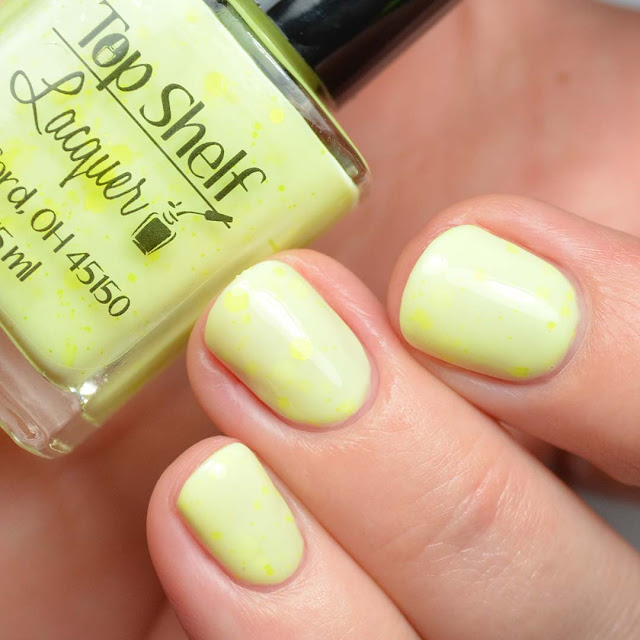 yellow nail polish with neon yellow glitter