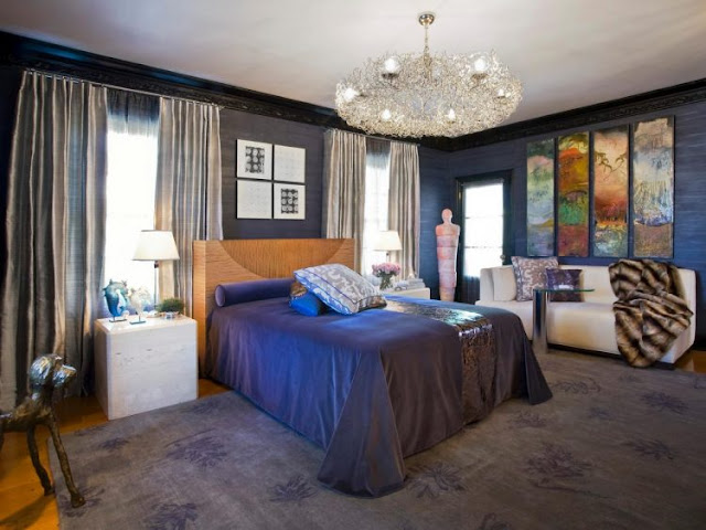 Cortes Navy Bedroom And Crystal Chandelier