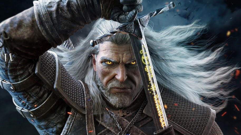 Geralt, Sword, The Witcher 3, 4K, #6.489