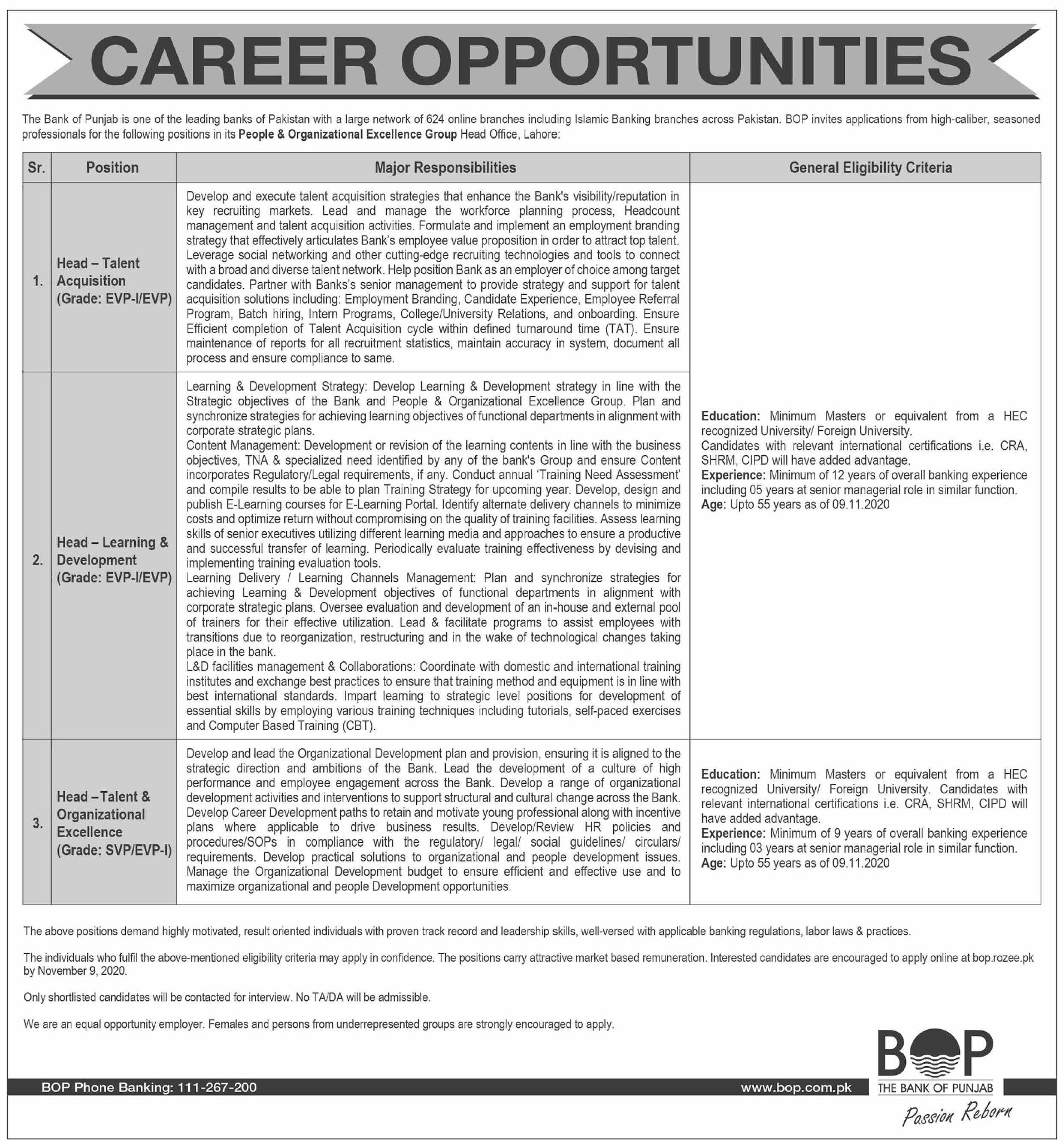 The Bank of Punjab BOP Latest Jobs in Pakistan - Download Application Form - bop.rozee.pk