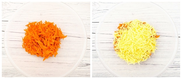 Vegan Cheese Savoury - a bowl of grated carrot, then the carrot topped with grated cheddar