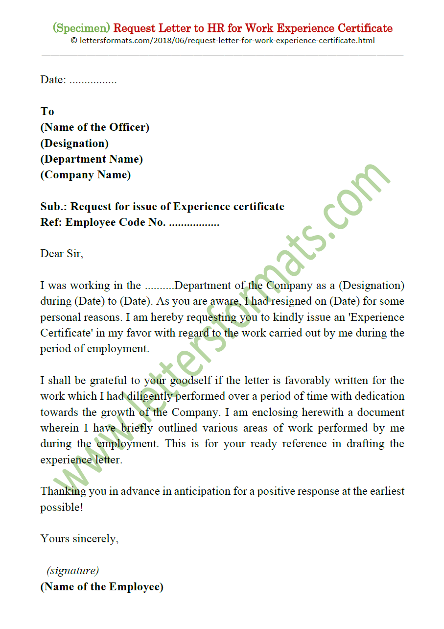 Request Letter To Boss Hr For Work