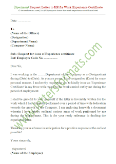 how to write a letter to hr manager for experience letter