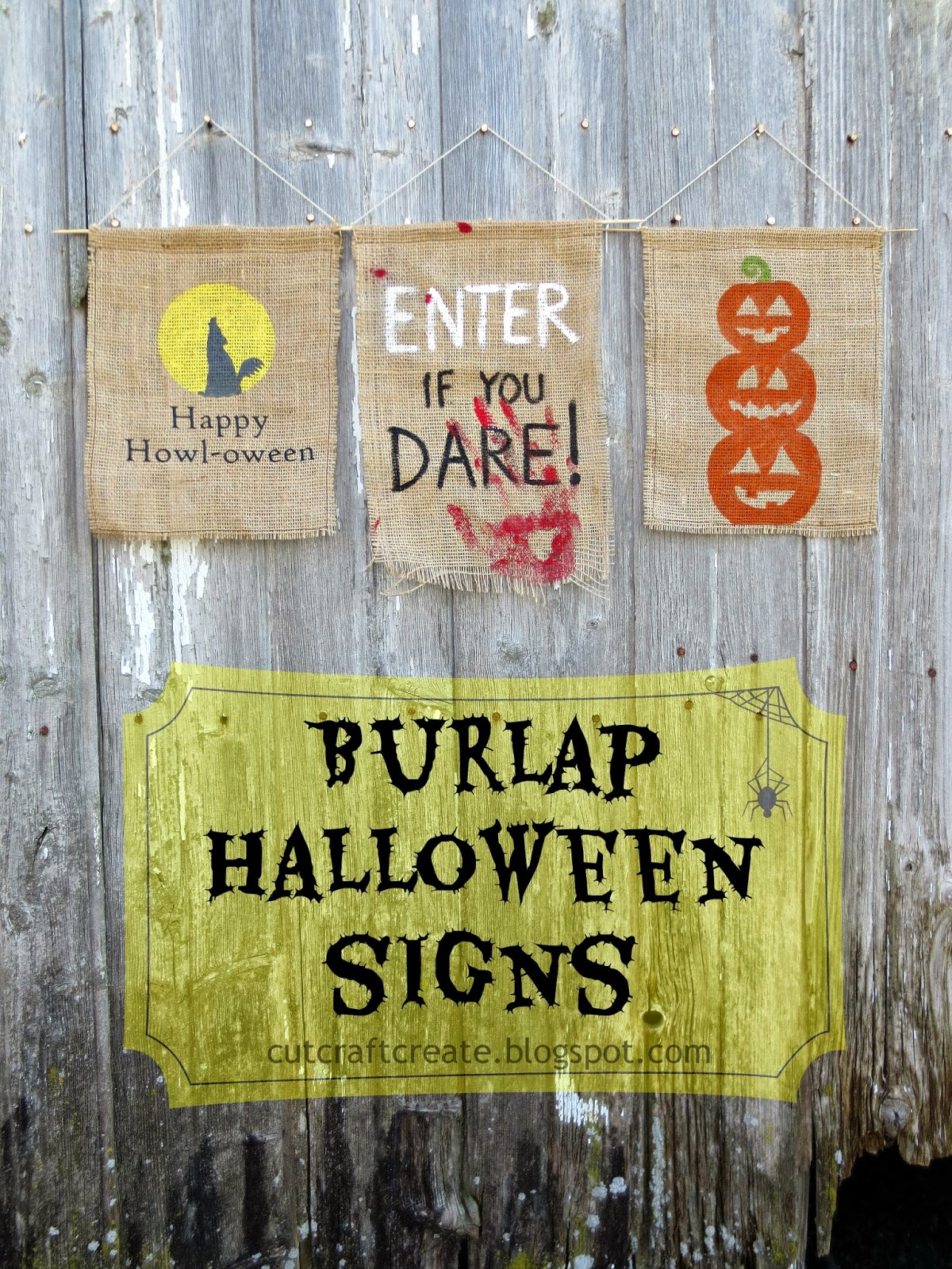 Cut Craft Create Burlap Halloween Signs Plus Halloween
