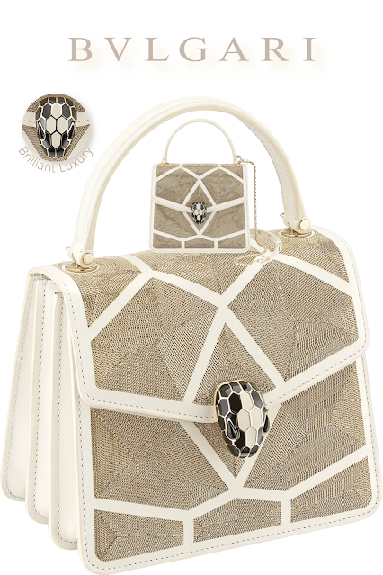 Bvlgari Serpenti Forever crossbody bag in white agate calf leather with million chain décor #brilliantluxury