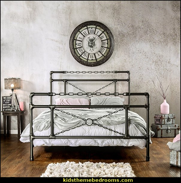 Industrial Brushed Silver Bed    Industrial style decorating ideas - Industrial chic decorating decor - Industrial style furniture - Industrial decor -  Modern Industrial - rustic industrial style decorating - Gears decor - City living urban style - Industrial urban loft decorating ideas - industrial bedroom ideas - vintage industrial home decor - industrial theme decorating - Industrial Steampunk decor