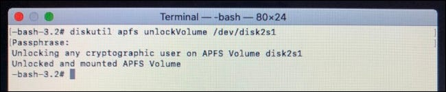 فتح قسم FileVault باستخدام Terminal