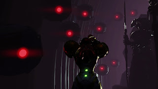 Samus facing a number of dark orbs with a red eye next to a Chozo Warrior statue