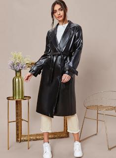 cappotto nero ecopelle