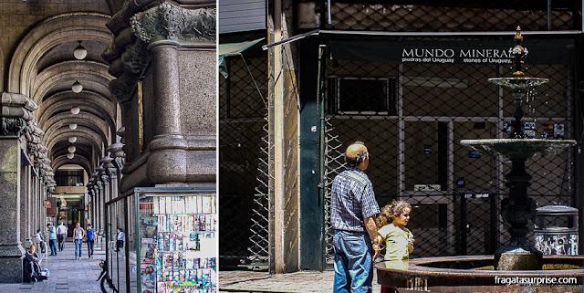 Montevidéu: arcadas do Palácio Salvo e uma fonte na Calle Sarandí