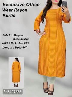 Style Rayon Striped Straight Kurta