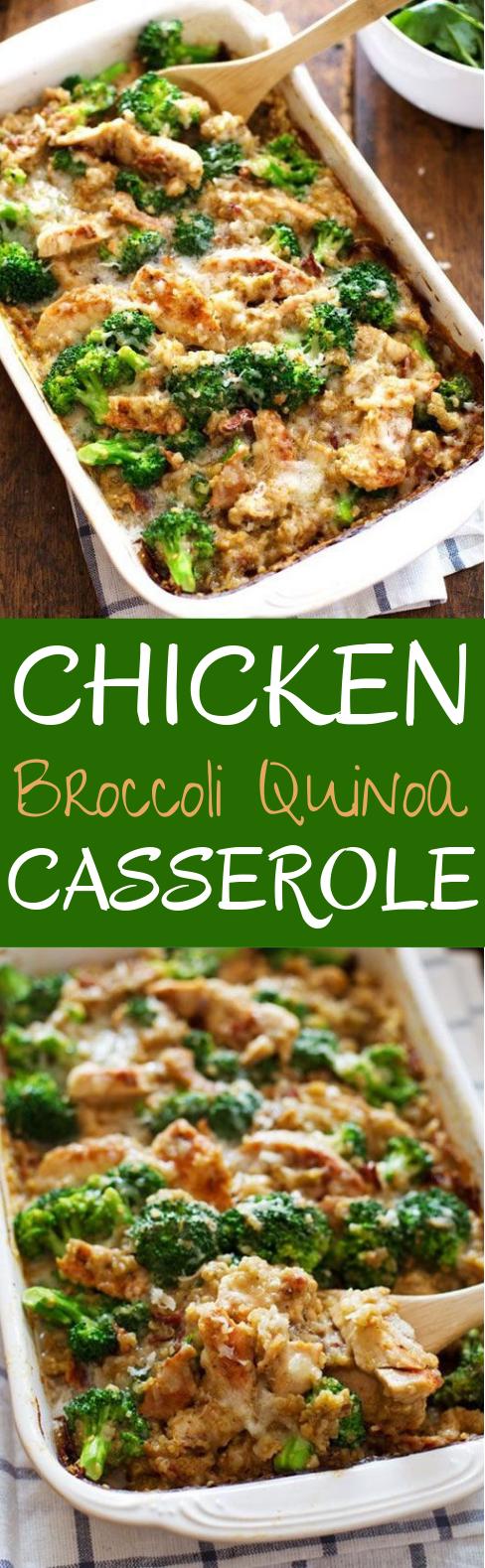 Creamy Chicken Quinoa and Broccoli Casserole #dinner #healthy