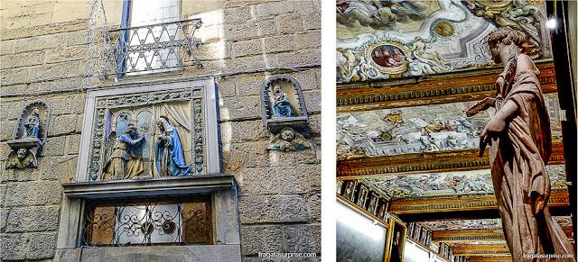 Florença:uma fachada no bairro de Oltrarno e a Galleria degli Uffizi