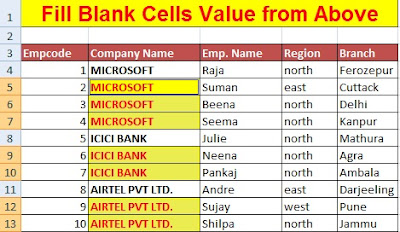 Fill Blank Cells in Excel with Zero (0), Dash(-) and Value from Above