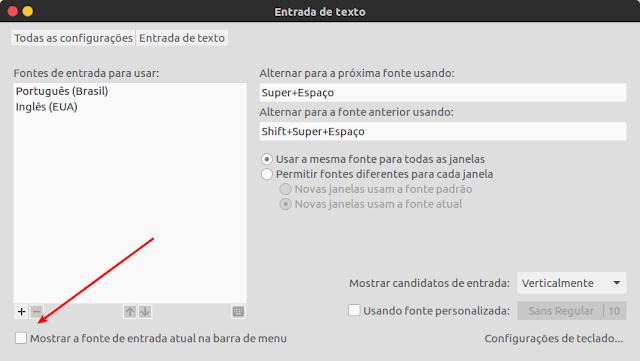 Entrada de texto Ubuntu