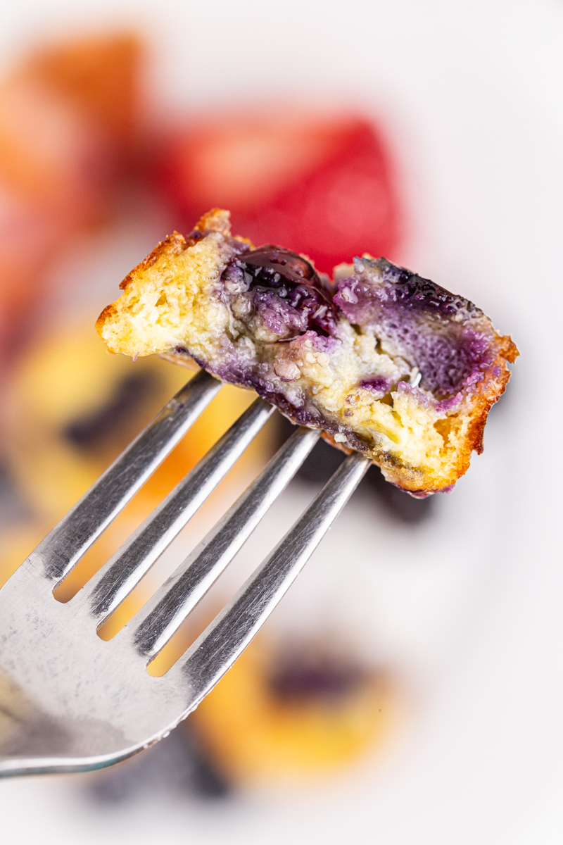 Closeup photo of a bite of a Mini Keto Pancake Bite on a fork.