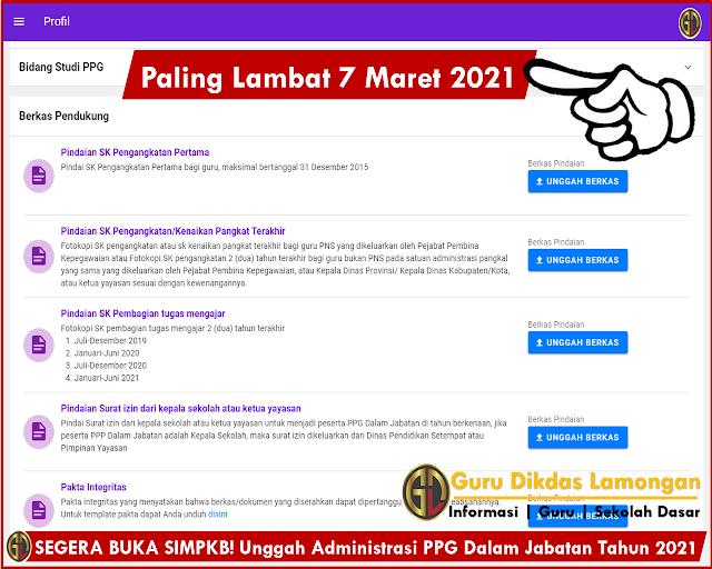 SEGERA BUKA SIMPKB! Unggah Administrasi PPG Dalam Jabatan Tahun 2021