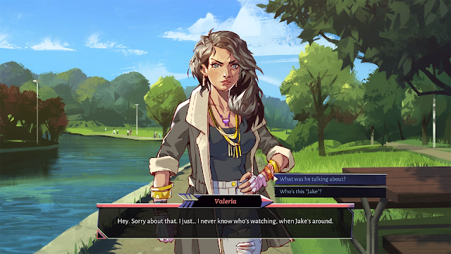 Screenshot of a player talking to a woman, with two dialog options.