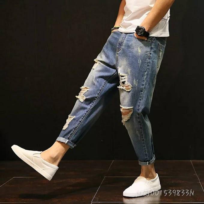 Nine Points Trousers Men's Loose Yards Big Holes Beggars Little Feet Jeans