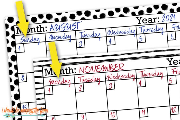 Monday Start Calendars