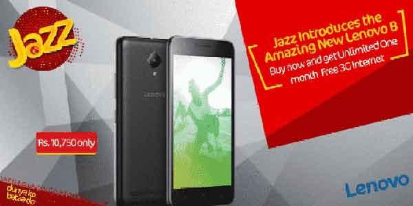 Jazz Introduceced Lenovo B with unlimited internet bundle