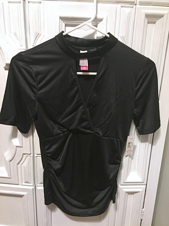 Walmart No Boundaries Silky Choker Neck Tee Black