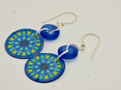 Blue Kaleidoscope Earrings by BayMoonDesign