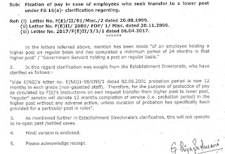 Fixation of pay in case of employees who seek transfer to a lower post under FR 15(a)