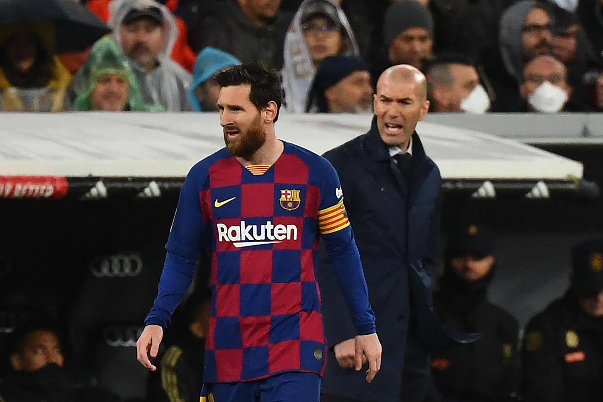 Real Madrid manager Zinedine Zidane and Barcelona's talisman Lionel Messi