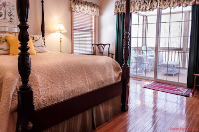 Bedroom, Bed, Hardwood Floor, Curtains