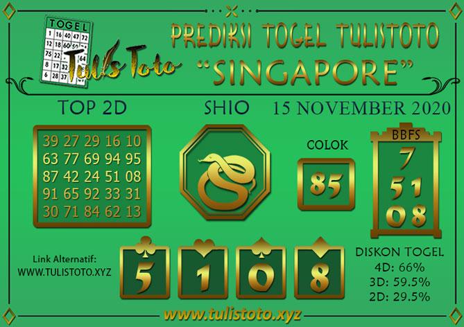 Prediksi Togel SINGAPORE TULISTOTO 15 NOVEMBER 2020