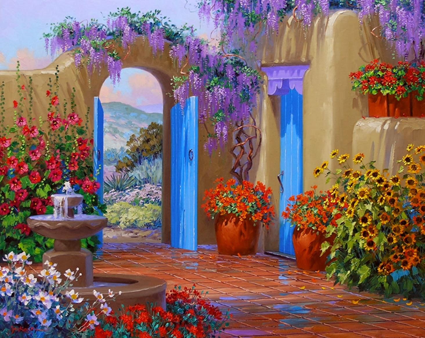 Cuadros modernos pinturas y dibujos galeria flores y for Historia de los jardines verticales