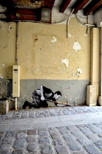 """""""Demineur"""" New Street Piece By French Artist Levalet In Paris, France. 4"""