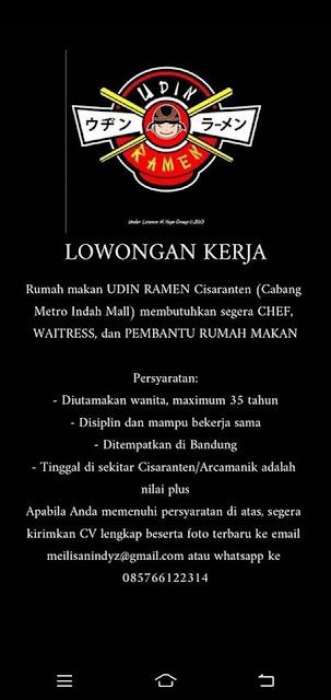 lowongan Kerja CHEF WAITREES Udin Ramen Bandung