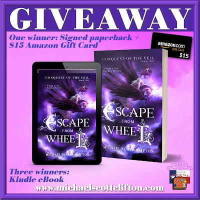 Escape from Wheel tour giveaway graphic. Prizes to be awarded precede this image in the post text.