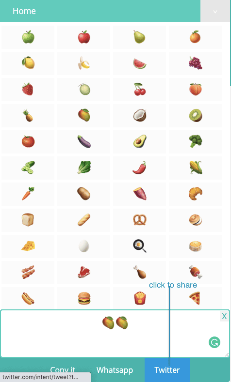 How to share Food Symbols on Twitter?