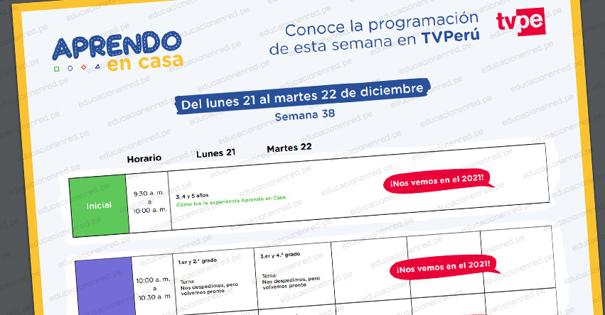 ÚLTIMA SEMANA DE CLASES APRENDO EN CASA: Programación del Lunes 21 al Martes 22 de Diciembre - MINEDU - TV Perú y Radio (ACTUALIZADO SEMANA 38) www.aprendoencasa.pe