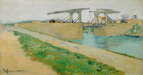 The Langlois Bridge, Arles, Maret 1888. Cat minyak di atas kanvas.