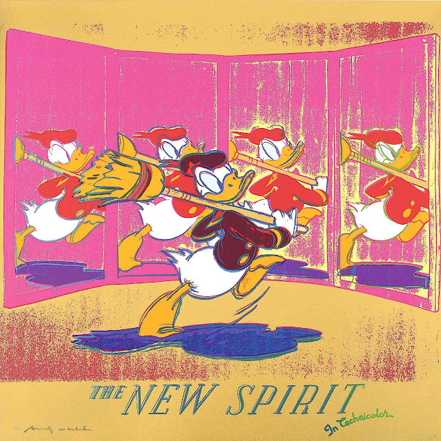 an Andy Warhol print of Donald Duck, The new Spirit