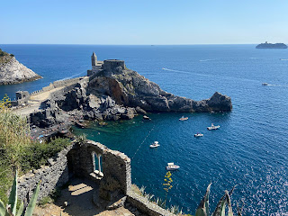 Looking down on the Grotta Byron and Church of San Pietro - Porto Venere