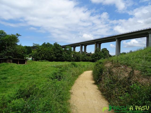 Senda Verde del Agua bajo el puente de la Autopista por Molleda