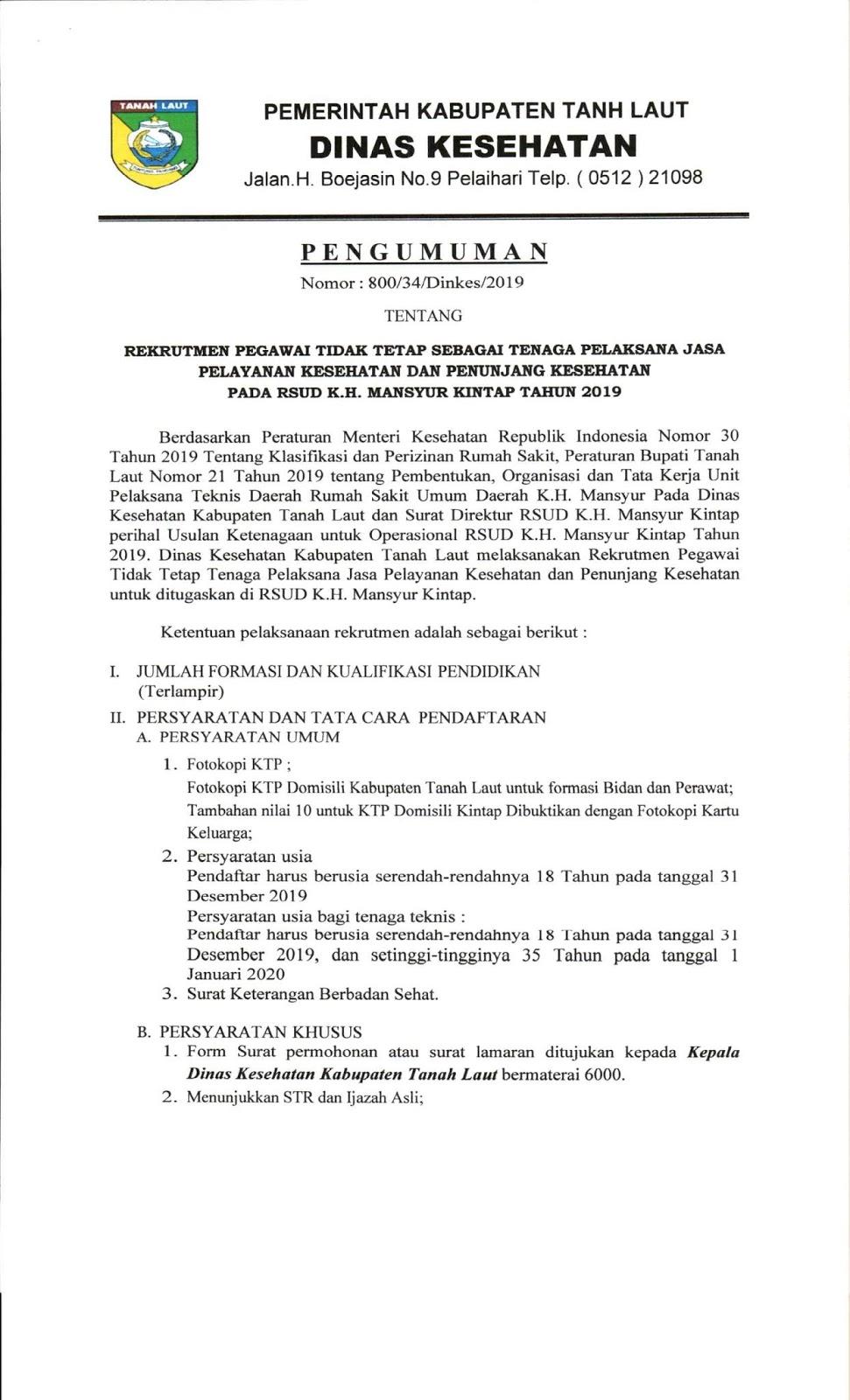 Lowongan Kerja PTT Dinas Kesehatan RSUD K.H. Mansyur Kintap Oktober 2019