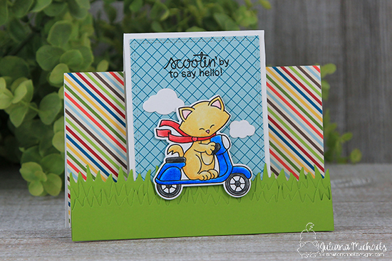 Cat on Scooter card by Juliana Michaels | Newton Scoots By Stamp Set by Newton's Nook Designs #newtonsnook