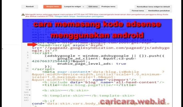 Cara Memasang Kode Adsense di blog Menggunakan Android