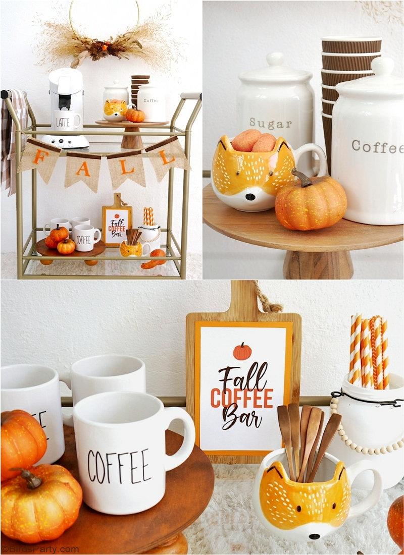 DIY Décorations d'Automne et Coffee Bar - des projets d'artisanat faciles à décorer pour l'automne, y compris des patrons imprimables gratuits!