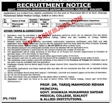 Jobs in Govt Khawaja Muhammad Medical College Sialkot